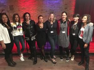AWFJ's Gill Pringle with the women directors of WARU