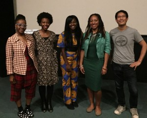 L to R: NYWIFT producer Easmanie Michel , Wunmi Fowora (Addie & Addy), Adenike Thomas (Addie & Addy), Iquo B. Essien (Aissa's Story), James Boo (America Heard: Refuge of Hope)