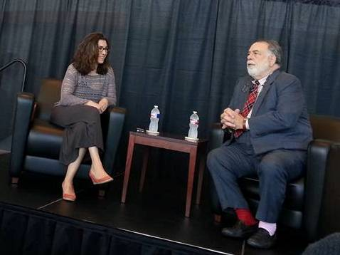 """Producer Jenny Gersten and writer/director/producer Francis Ford Coppola talk about the first successful test of his """"Live Cinema"""" concept for his semi-autobiographical live movie performance piece """"Distant Vision"""" Saturday at Oklahoma City Community College. Photo by Brandy McDonnell"""