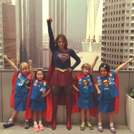 "Melissa Benoist meets the Daisy Girl Scout Troop known as the ""Super Girls"" from the Girl Scout Council of Eastern Oklahoma. Photo provided"