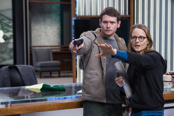 "Director Jodie Foster works with Jack O'Connell in the movie ""Money Monster."" Sony Pictures photo"