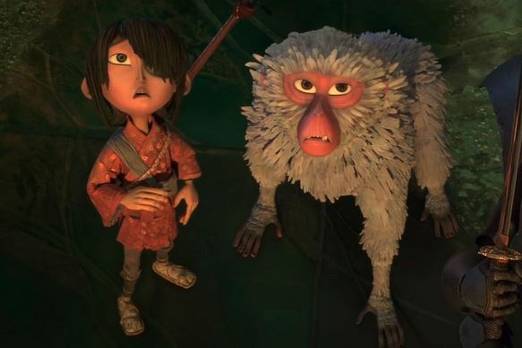 "Art Parkinson voices Kubo and Charlize Theron voices Monkey in ""Kubo and the Two Strings."" Laika Entertainment photo"
