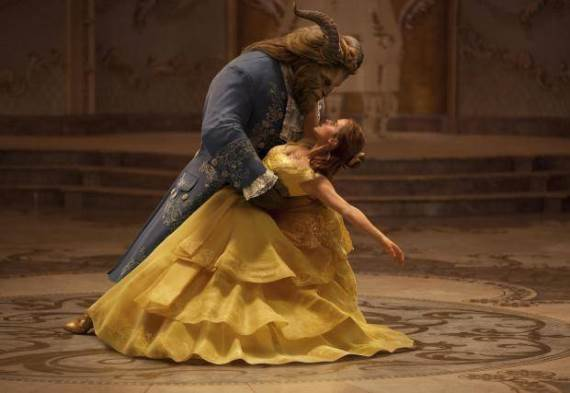 "Dan Stevens plays The Beast, left, and Emma Watson plays Belle in the live-action adaptation of the animated classic ""Beauty and the Beast."" Disney photo"