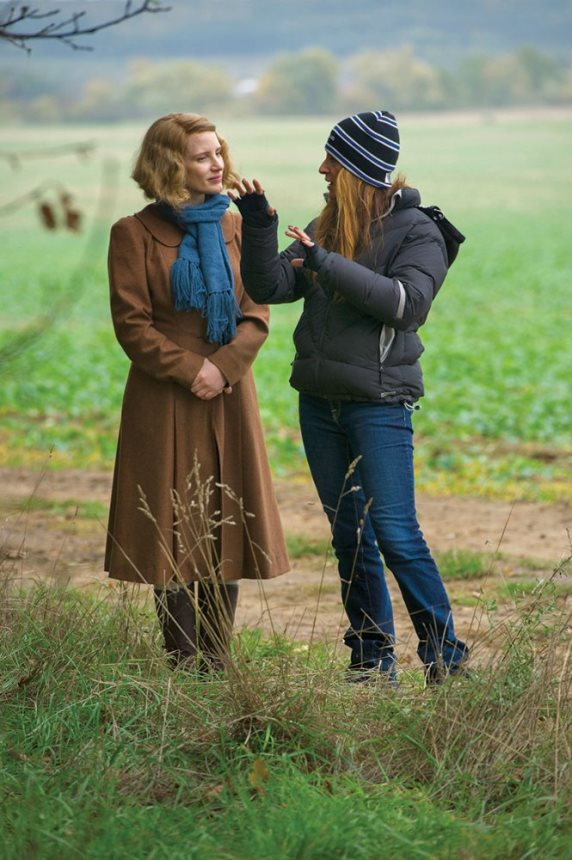 "Star Jessica Chastain, left, and director Niki Caro work on the set of ""The Zookeeper's Wife.""  Focus Features photo"