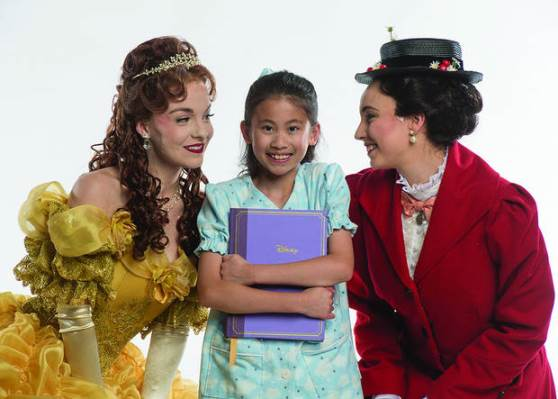 "From left, Emily Pace appears as Belle, Serena Feng as the Little Girl and Kaylene Snarksy as Mary Poppins in a publicity photo for Lyric Theatre of Oklahoma's summer debut production of Disney's ""When You Wish."" Photo by KO Rinearson"