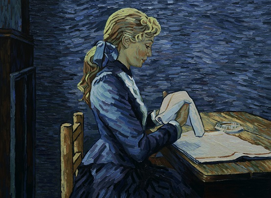 "The innkeeper's daughter, Adeline Ravoux (played by Eleanor Tomlinson), folds napkins at the Ravoux Inn, where Vincent van Gogh was staying when he died, in a scene from the animated film ""Loving Vincent."" A fictionalized biopic about the life and death of the legendarily brilliant artist and troubled soul is considered the world's first fully oil-painted feature film. Good Deed Entertainment photo"