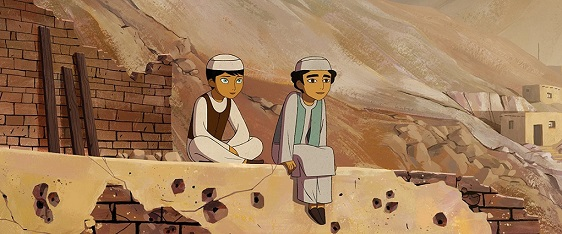 "In Taliban-ruled Afghanistan, Parvana (voice of Saara Chaudry) and Shauzia (Soma Chhaya) pass as boys in the animated film ""The Breadwinner."" Cartoon Saloon photo"