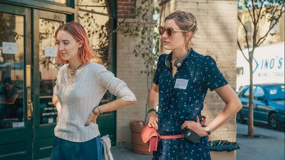 "Star Saoirse Ronan, left, and writer-director Greta Gerwig appear on the set of ""Lady Bird,"" one of the movies made by and centered on women nominated for this year's Alliance of Women Film Journalist awards. A24 photo"