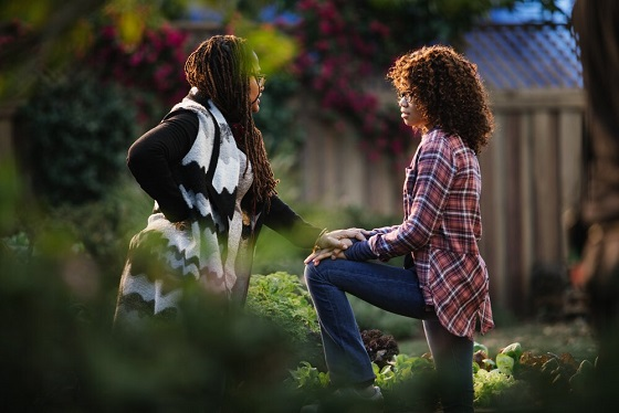 "Director Ava DuVernay, left, guides actor Storm Reid through a scene for the upcoming film ""A Wrinkle in Time."" Disney photo"