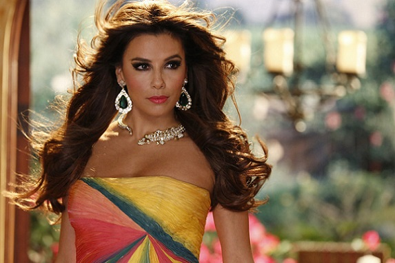 "Eva Longoria looks glamorous in an episode of the NBC comedy ""Telenovela."" She tells The New York Times her fashion choices on the 2018 Golden Globe Awards will be about standing in solidarity with victims of sexual harassment and abuse. NBC photo"
