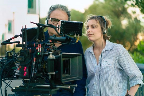"Greta Gerwig appears on the set of ""Lady Bird."" A24 Films photo"