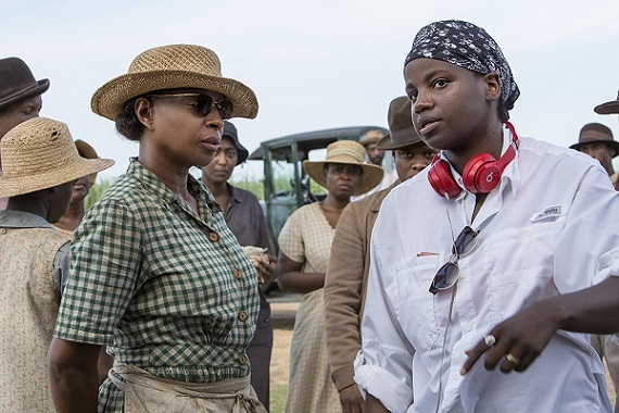"Mary J. Blige, left, and director Dee Rees appear on the set of ""Mudbound."" Netflix photo"