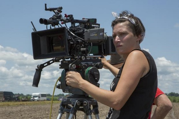 "Rachel Morrison works on the set of the film ""Mudbound."" Netflix photo"