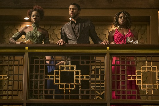 "From left, Lupita Nyong'o, Chadwick Boseman and Danai Gurira appear in a scene from ""Black Panther."" Marvel Studios photo"