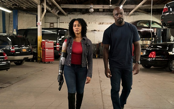 "Simone Missick, left, and Mike Colter appear in ""Luke Cage."" Netflix photo"