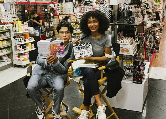 """Charles Melton and Yara Shahidi pose for a photo on the set of Warner Bros. Pictures' and Metro-Goldwyn-Mayer Pictures' """"The Sun Is Also a Star,"""" a 2019 Warner Bros. pictures release. Photo by Atsushi Nishijima"""