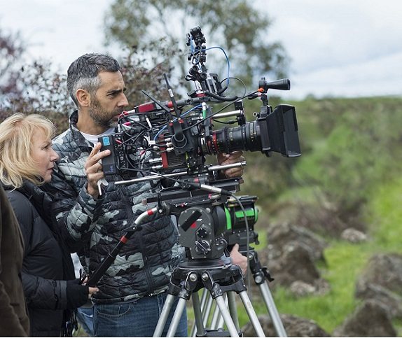 "Director Mimi Leder and camera operator Chris Cuevas appear on the set of ""The Leftovers."" HBO photo"