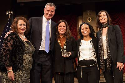 "Commissioner López and Mayor de Blasio honored PGA members Lydia Dean Pilcher, Rachel Watanabe-Batton, Mari Jo Winkler for their work in diversity, sustainability and gender equality at the 2014 ""Made in NY"" Awards. Photo courtesy of Brian Everett Francis."