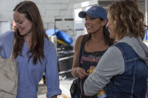 Reed Morano (center) on-set with Olivia Wilde (l) and Elisabeth Moss. Photo credit: Paul Sarkis