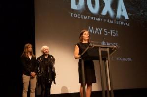 Brett Story accepts EDA Award from Katherine Monk and Jennifer Merin