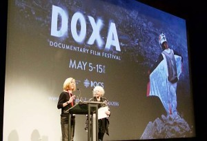 At DOXA 2016, Karen Martin and Jennifer Merin present EDA Awards - Photo by Philip Martin