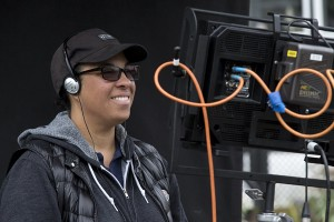 angela robinson on set with camera