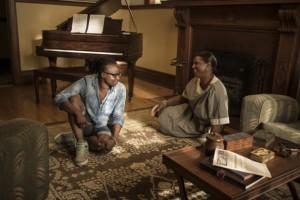 Dee Rees with Queen Latifah on Bessie set